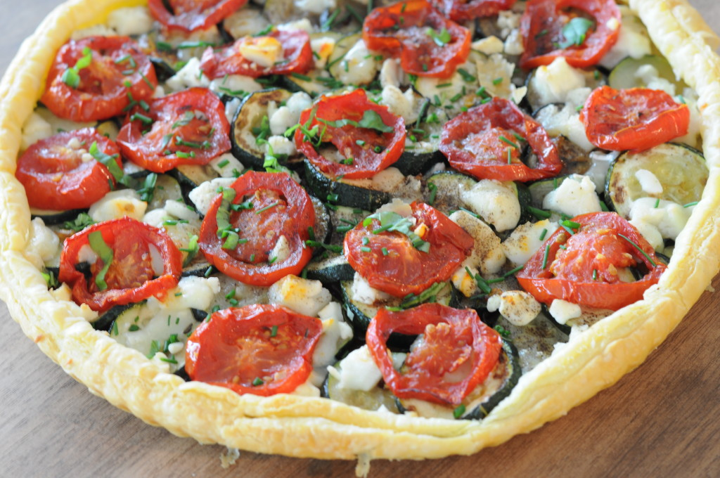 Roasted Tomato Zucchini and Goat Cheese Tart | Moxiblog