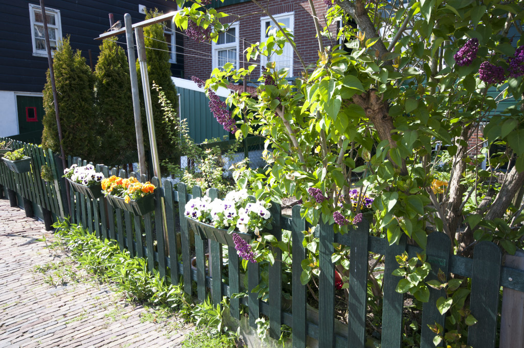 flower boxes on fence
