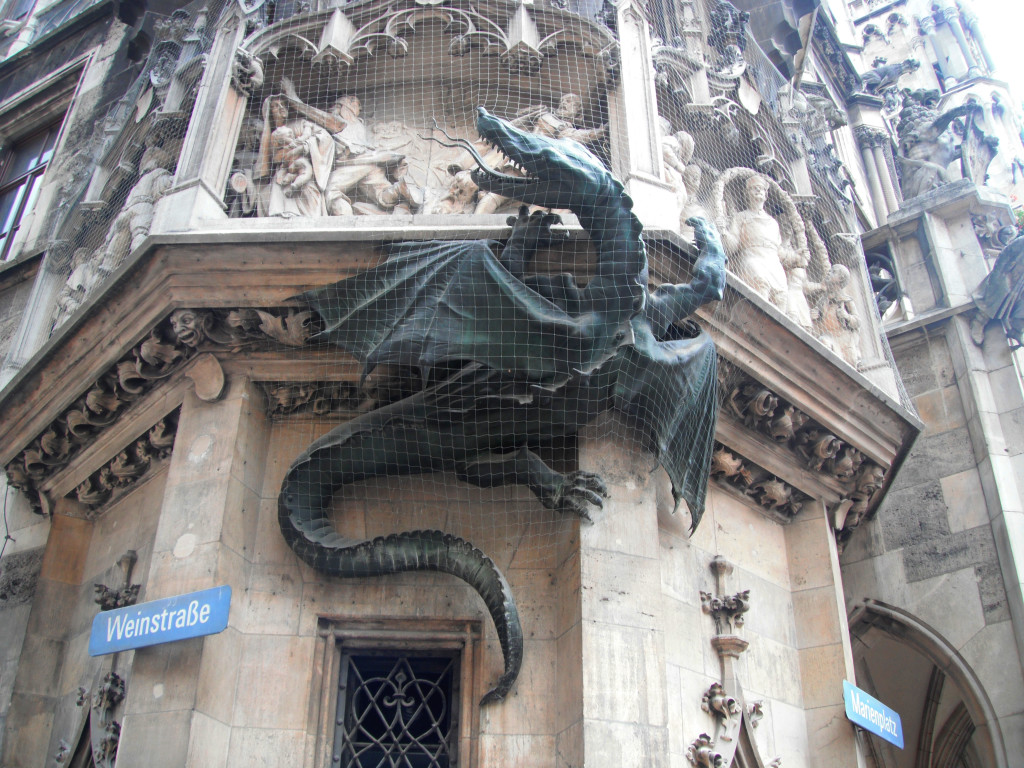 dragon on building