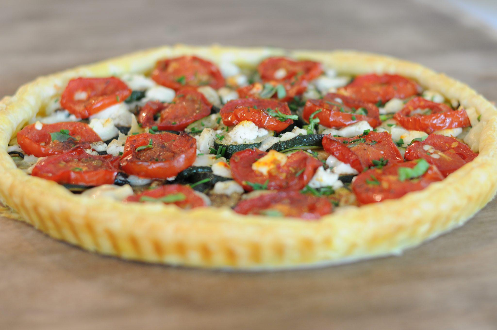 Roasted Tomato Zucchini and Goat Cheese Tart | Moxiblog