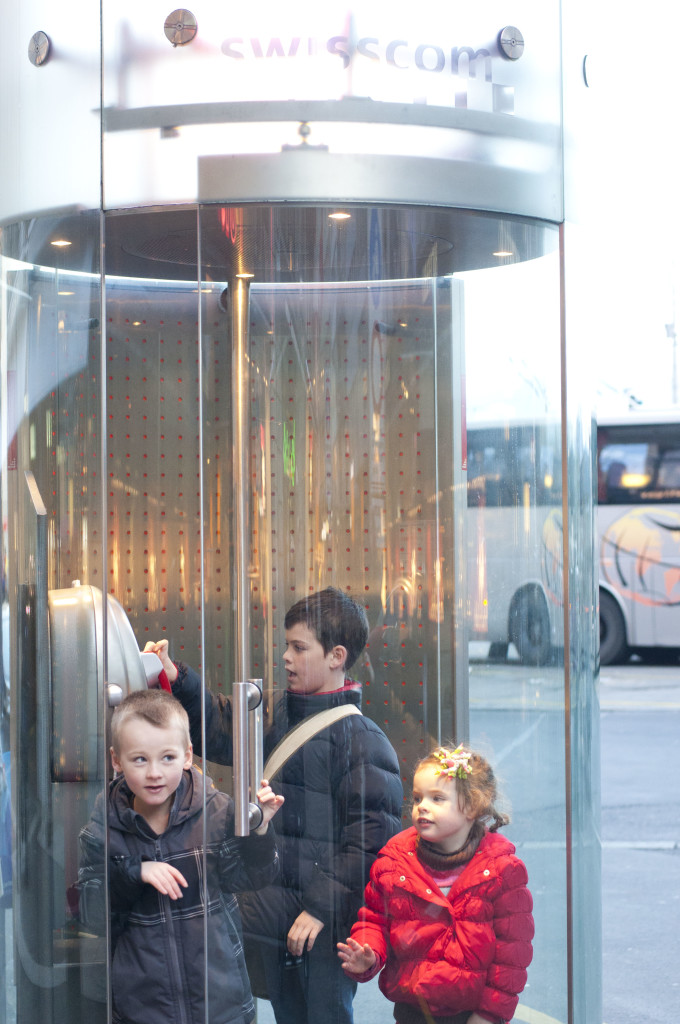 kids locked into phone booth