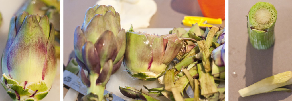 cleaning the artichoke triptic