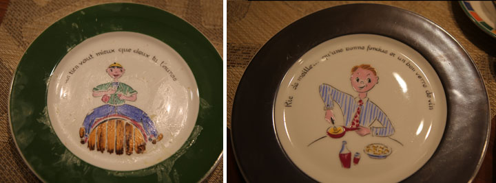 vintage fondue plates