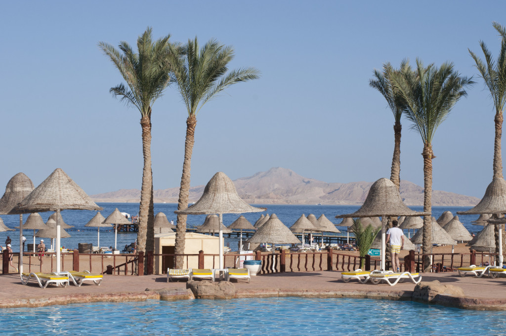 view of red sea and pool