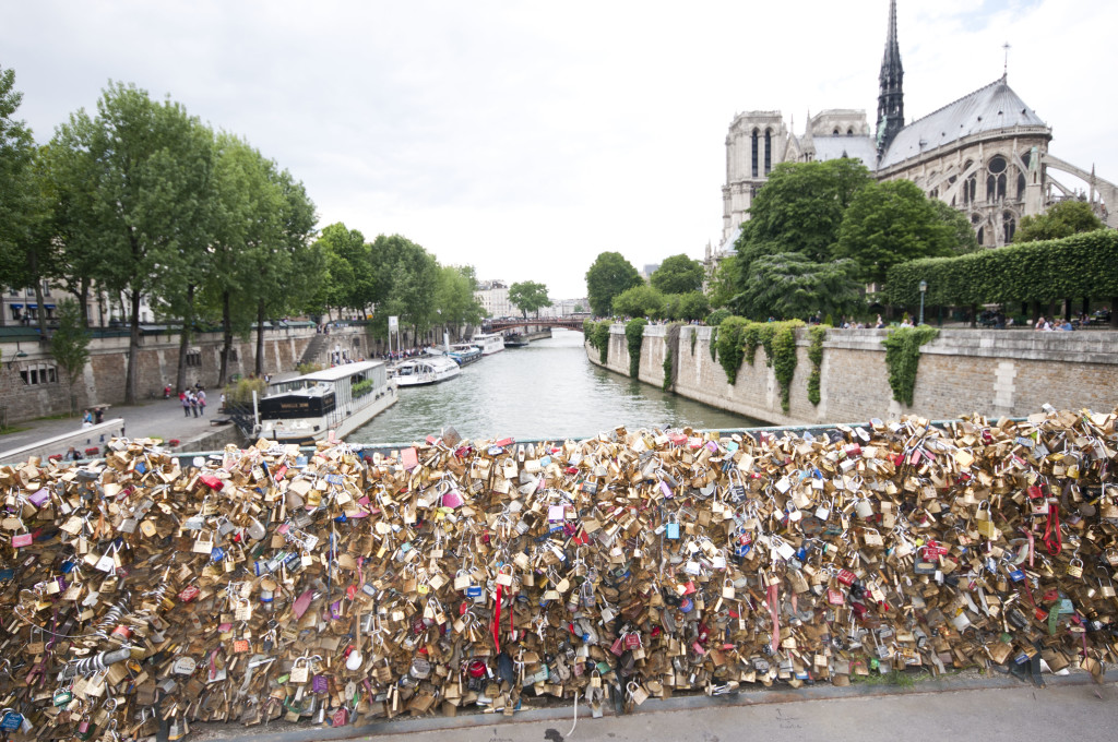 one of the love lock bridges- just east of Notre Dame