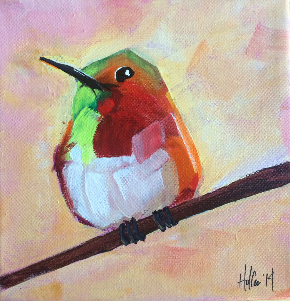 hummingbird on peach